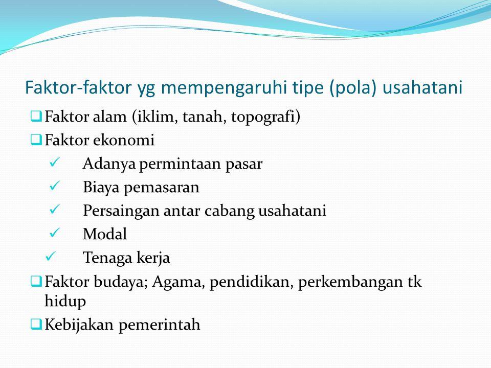 Faktor-faktor yg mempengaruhi tipe (pola) usahatani