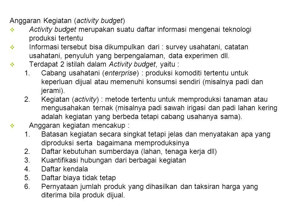 Anggaran Kegiatan (activity budget)