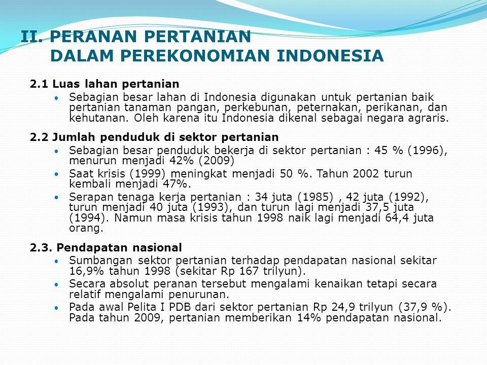 II. PERANAN PERTANIAN DALAM PEREKONOMIAN INDONESIA