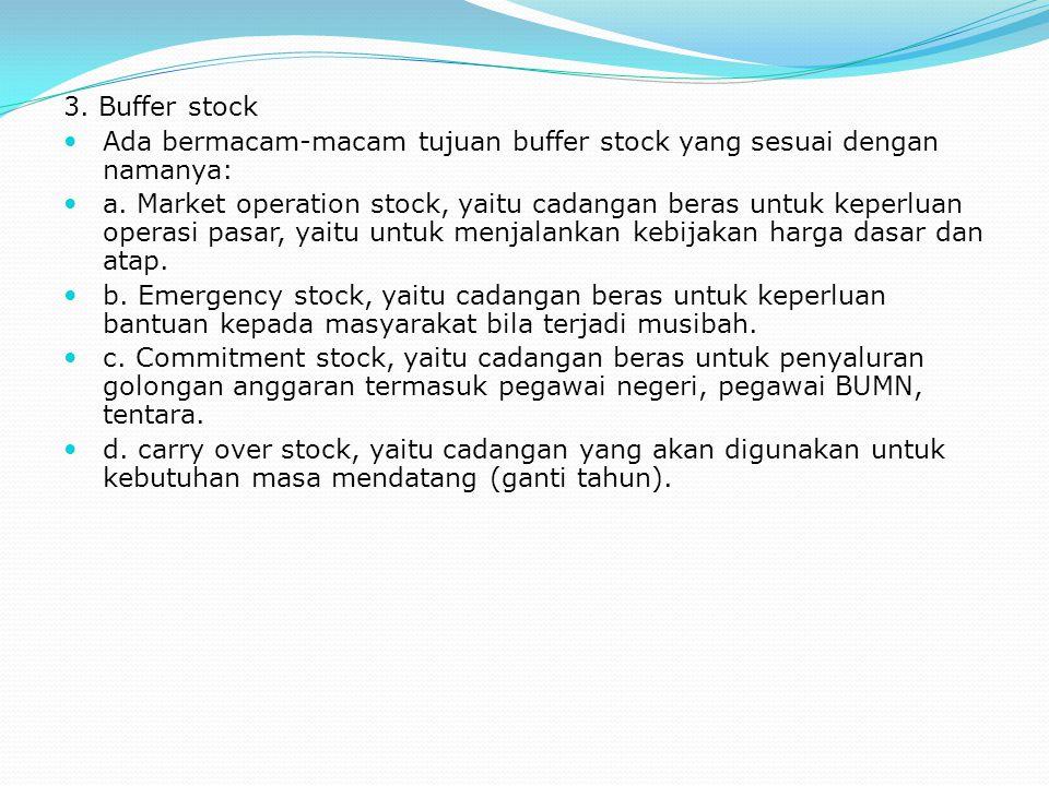 3. Buffer stock Ada bermacam-macam tujuan buffer stock yang sesuai dengan namanya: