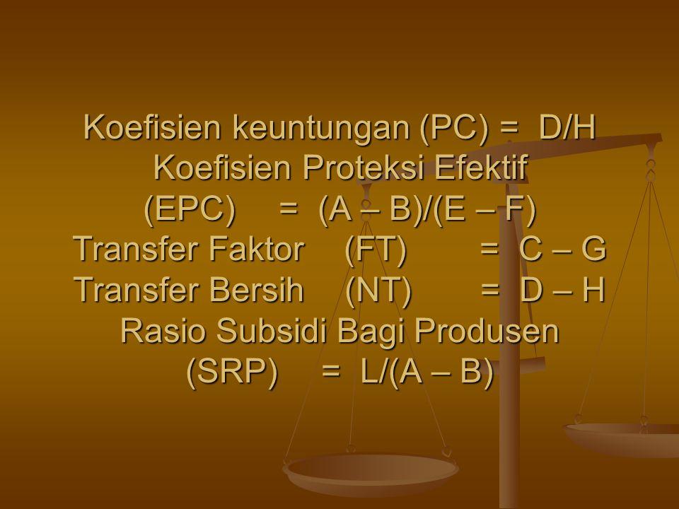 Koefisien keuntungan (PC). = D/H Koefisien Proteksi Efektif (EPC)