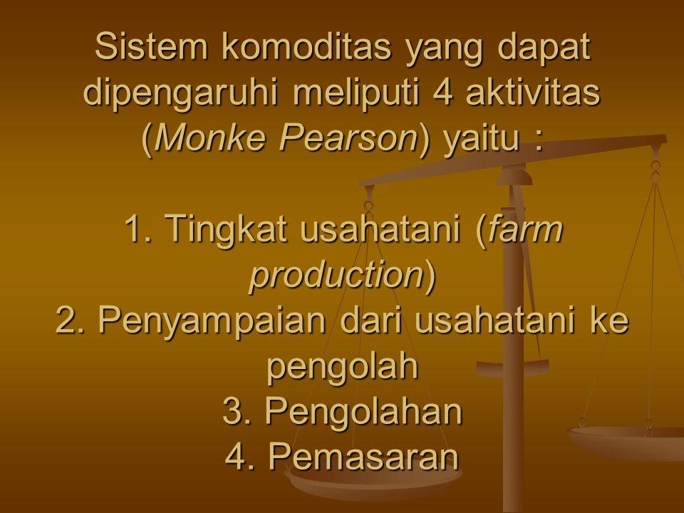 Sistem komoditas yang dapat dipengaruhi meliputi 4 aktivitas (Monke Pearson) yaitu : 1.