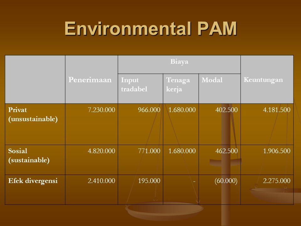 Environmental PAM Penerimaan Biaya Keuntungan Input tradabel Tenaga