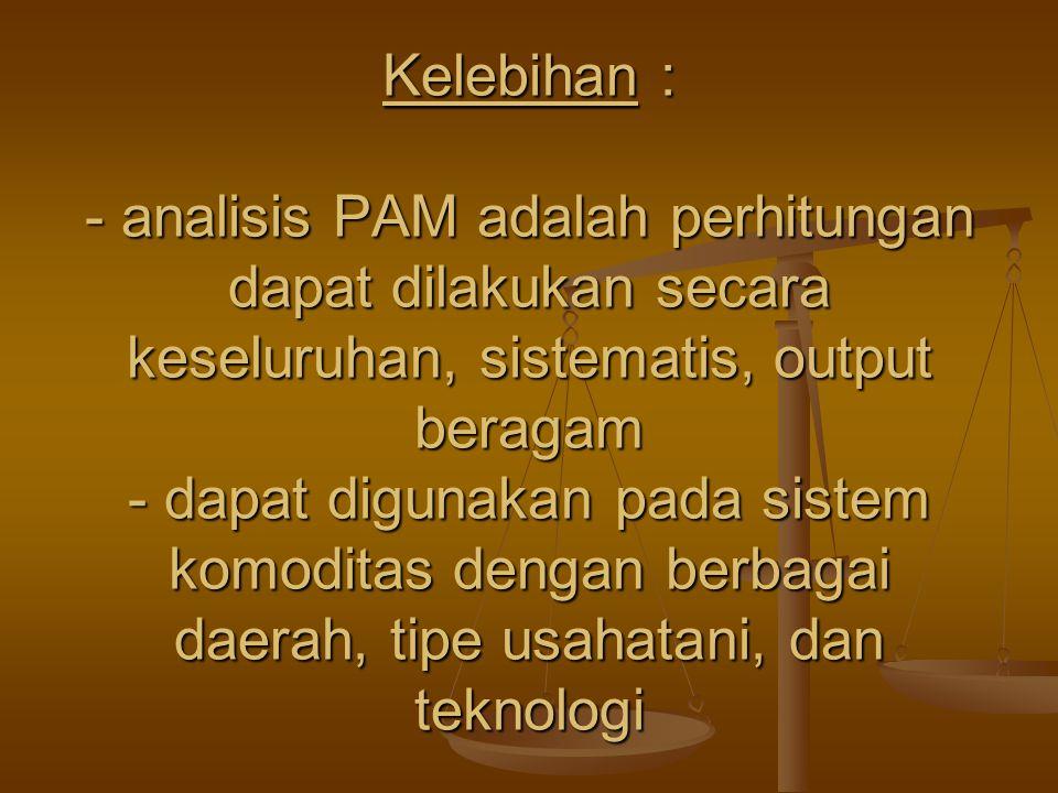 Kelebihan : - analisis PAM adalah perhitungan dapat dilakukan secara keseluruhan, sistematis, output beragam - dapat digunakan pada sistem komoditas dengan berbagai daerah, tipe usahatani, dan teknologi
