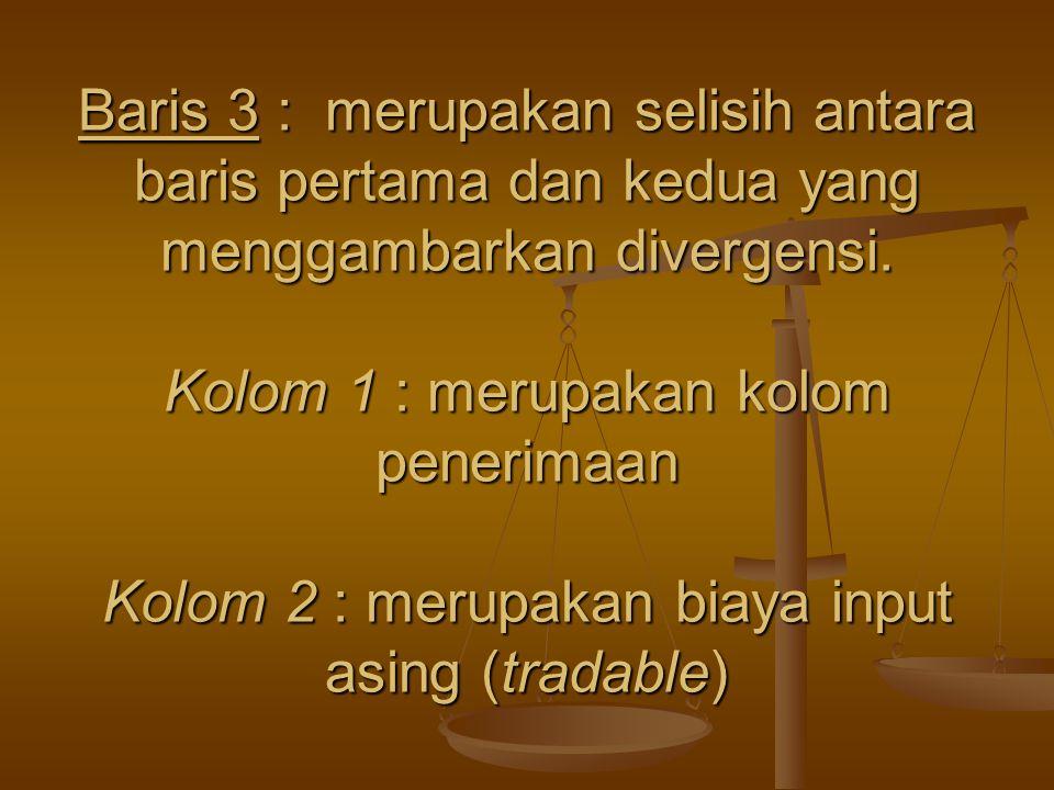 Baris 3 : merupakan selisih antara baris pertama dan kedua yang menggambarkan divergensi.