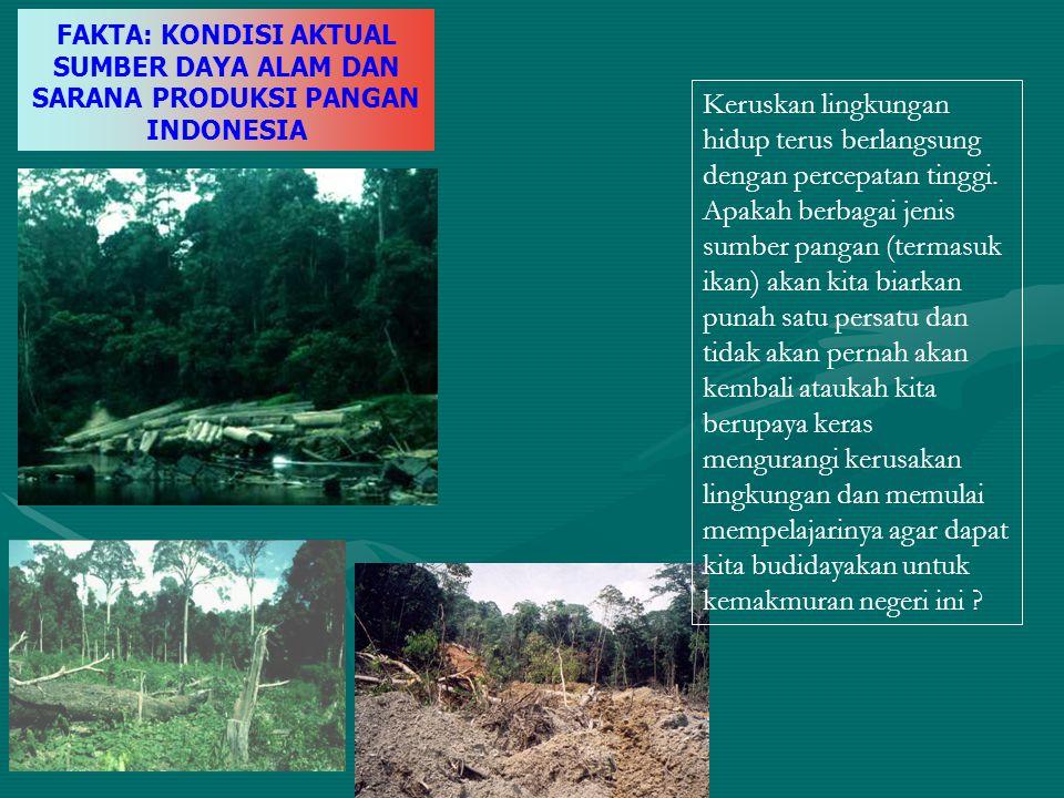 FAKTA: KONDISI AKTUAL SUMBER DAYA ALAM DAN SARANA PRODUKSI PANGAN INDONESIA