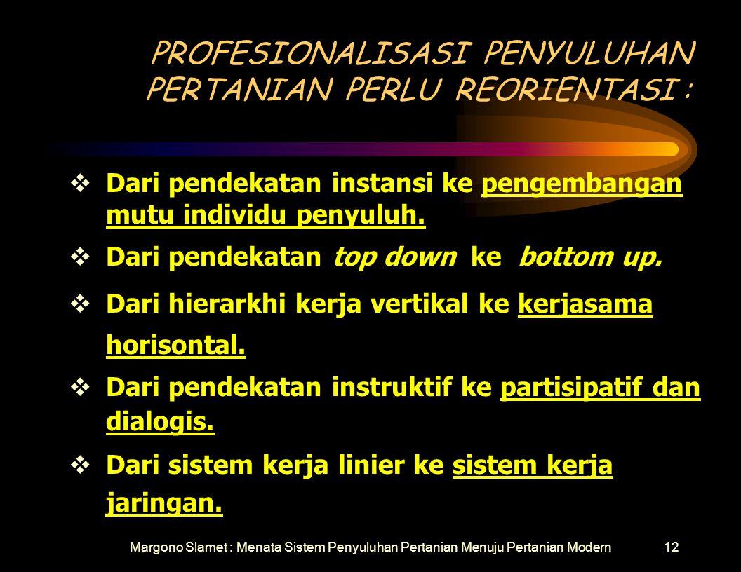 PROFESIONALISASI PENYULUHAN PERTANIAN PERLU REORIENTASI :