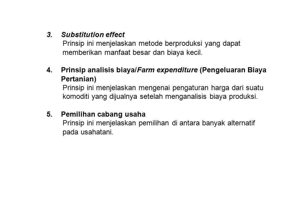 Substitution effect Prinsip ini menjelaskan metode berproduksi yang dapat memberikan manfaat besar dan biaya kecil.