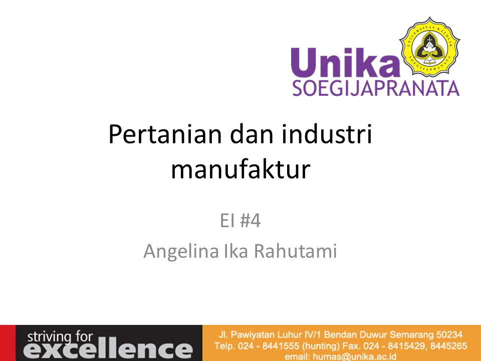 Pertanian dan industri manufaktur