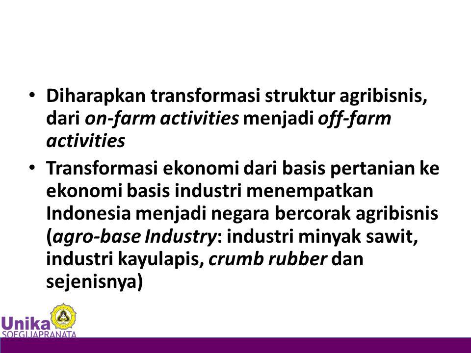 Diharapkan transformasi struktur agribisnis, dari on-farm activities menjadi off-farm activities
