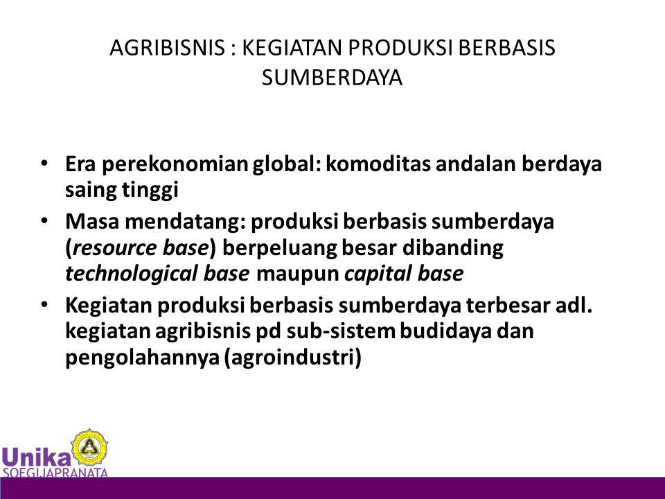 AGRIBISNIS : KEGIATAN PRODUKSI BERBASIS SUMBERDAYA