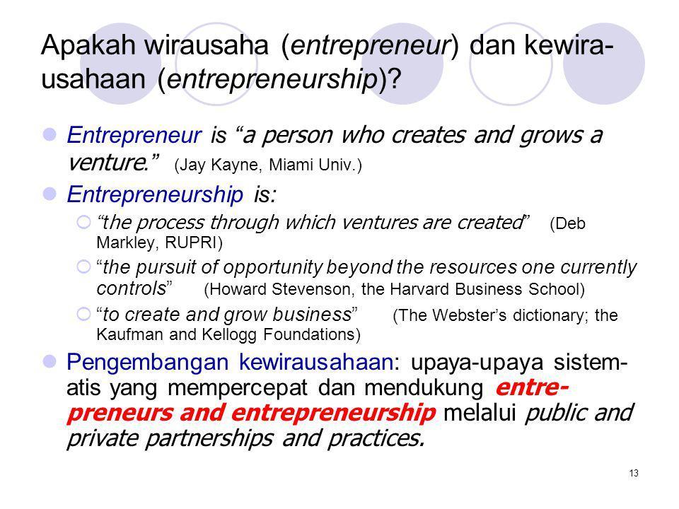 Apakah wirausaha (entrepreneur) dan kewira-usahaan (entrepreneurship)