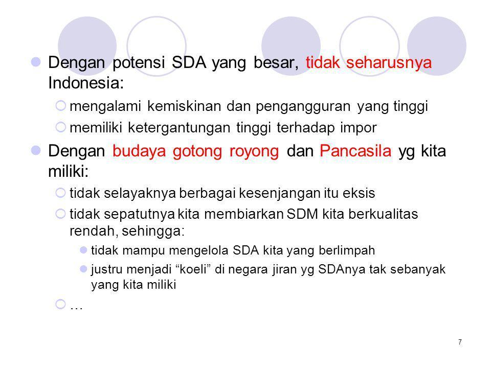 Dengan potensi SDA yang besar, tidak seharusnya Indonesia: