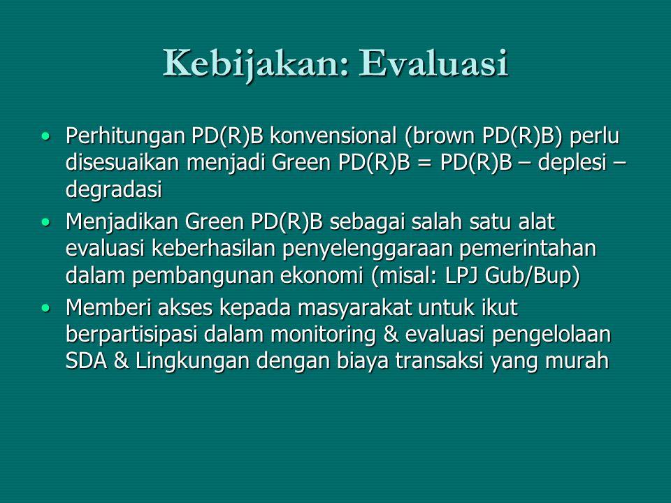 Kebijakan: Evaluasi Perhitungan PD(R)B konvensional (brown PD(R)B) perlu disesuaikan menjadi Green PD(R)B = PD(R)B – deplesi – degradasi.