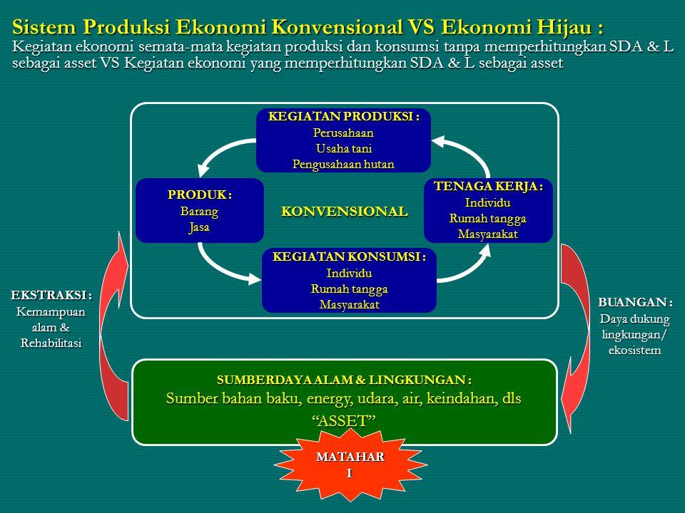 Sistem Produksi Ekonomi Konvensional VS Ekonomi Hijau : Kegiatan ekonomi semata-mata kegiatan produksi dan konsumsi tanpa memperhitungkan SDA & L sebagai asset VS Kegiatan ekonomi yang memperhitungkan SDA & L sebagai asset