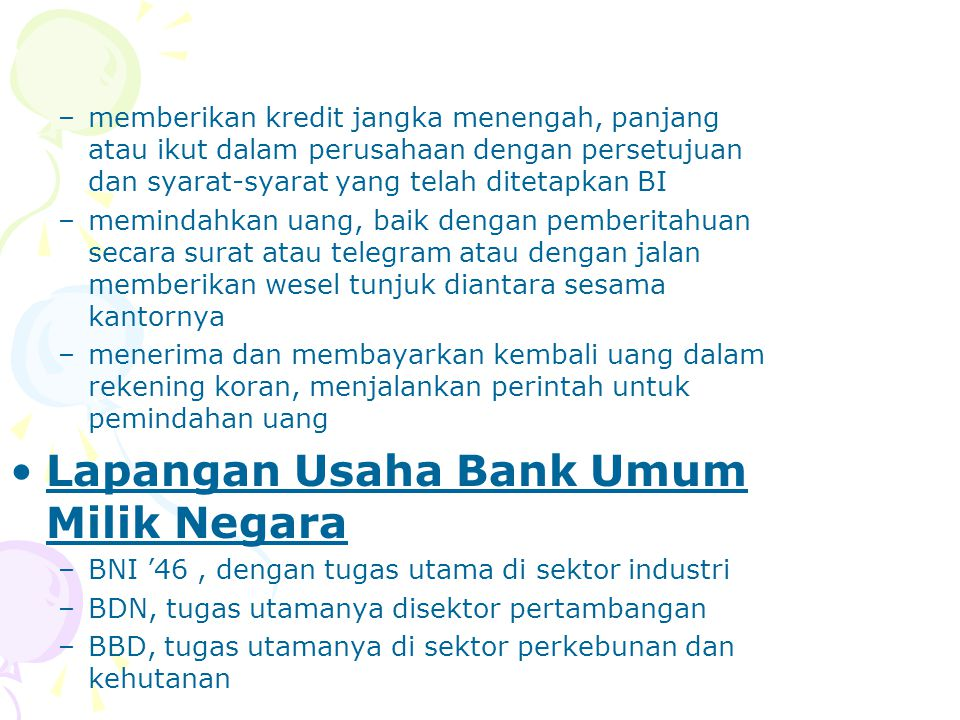 Lapangan Usaha Bank Umum Milik Negara