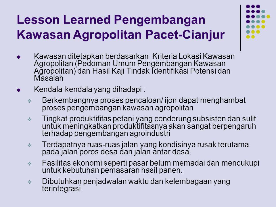 Lesson Learned Pengembangan Kawasan Agropolitan Pacet-Cianjur
