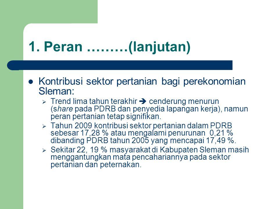 1. Peran ………(lanjutan) Kontribusi sektor pertanian bagi perekonomian Sleman: