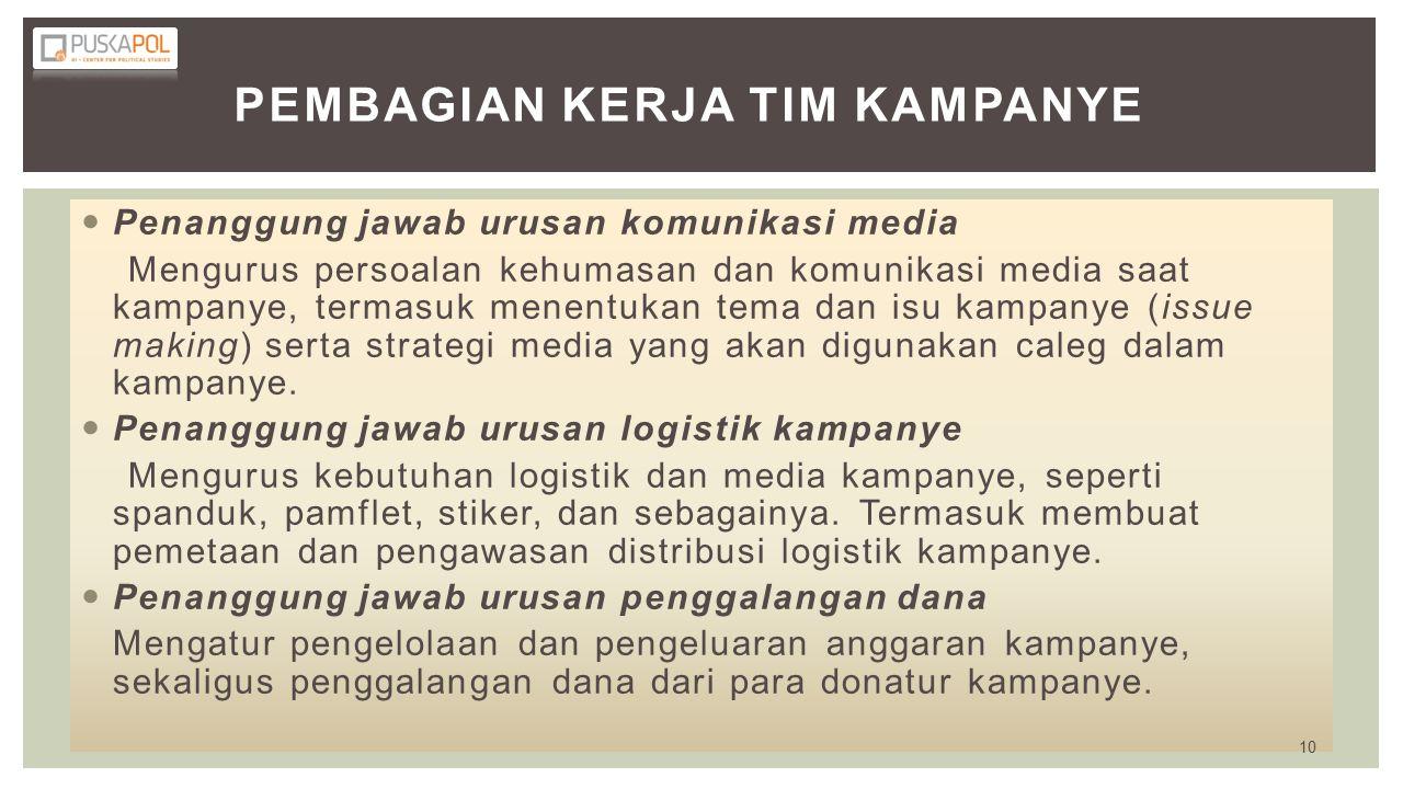 Pembagian Kerja Tim Kampanye