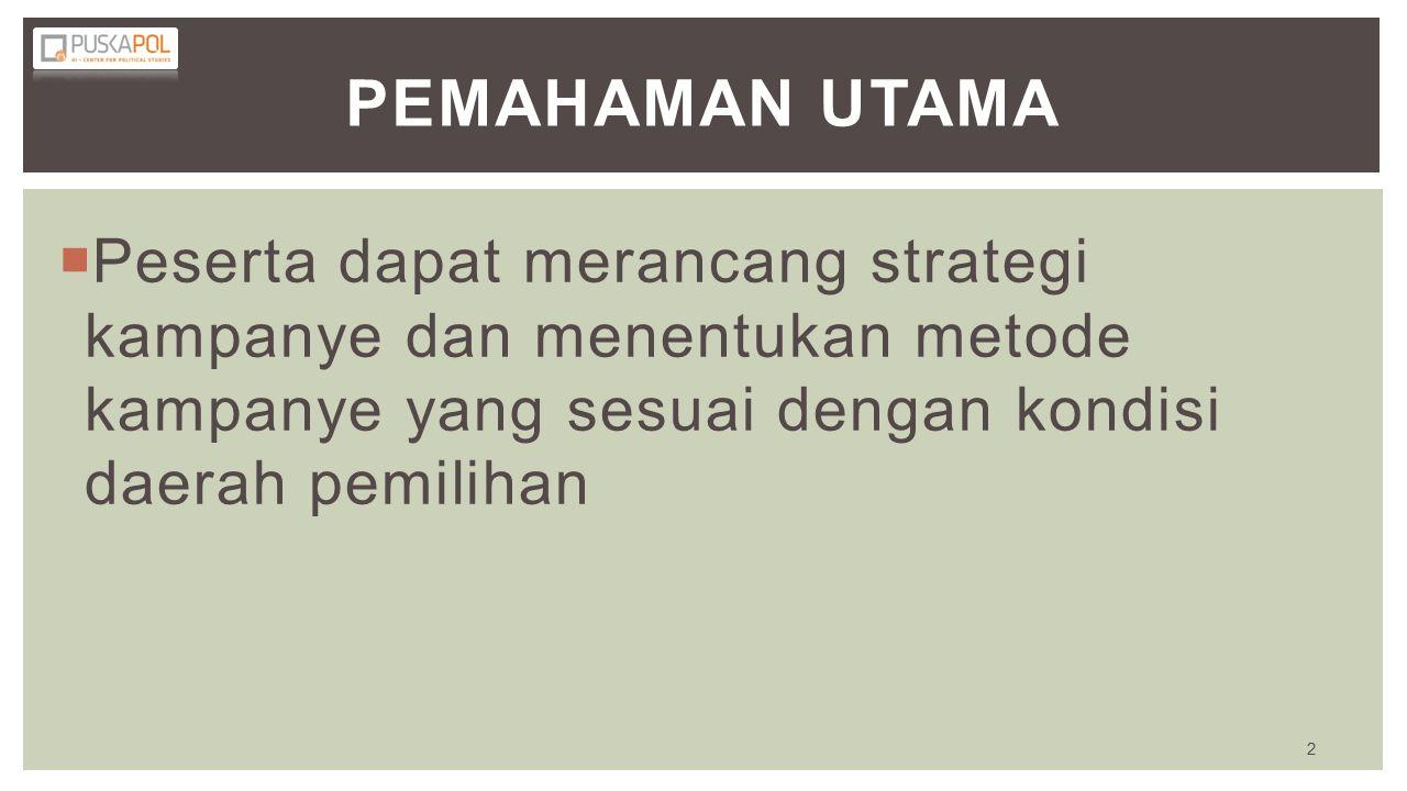 Pemahaman Utama Peserta dapat merancang strategi kampanye dan menentukan metode kampanye yang sesuai dengan kondisi daerah pemilihan.
