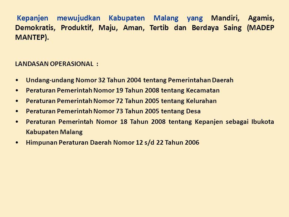 Kepanjen mewujudkan Kabupaten Malang yang Mandiri, Agamis, Demokratis, Produktif, Maju, Aman, Tertib dan Berdaya Saing (MADEP MANTEP).