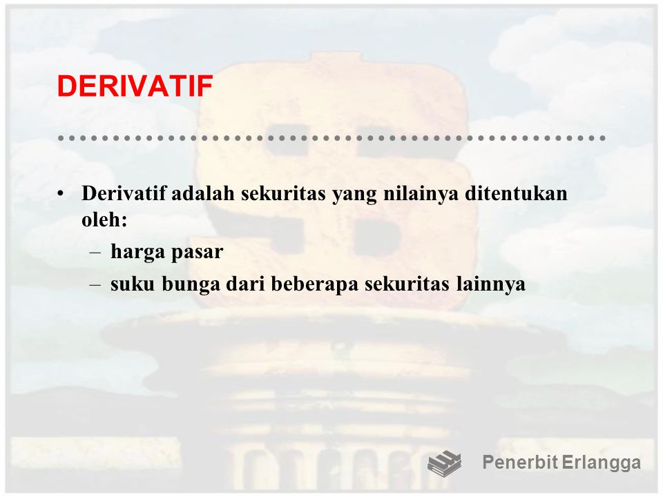 DERIVATIF Derivatif adalah sekuritas yang nilainya ditentukan oleh:
