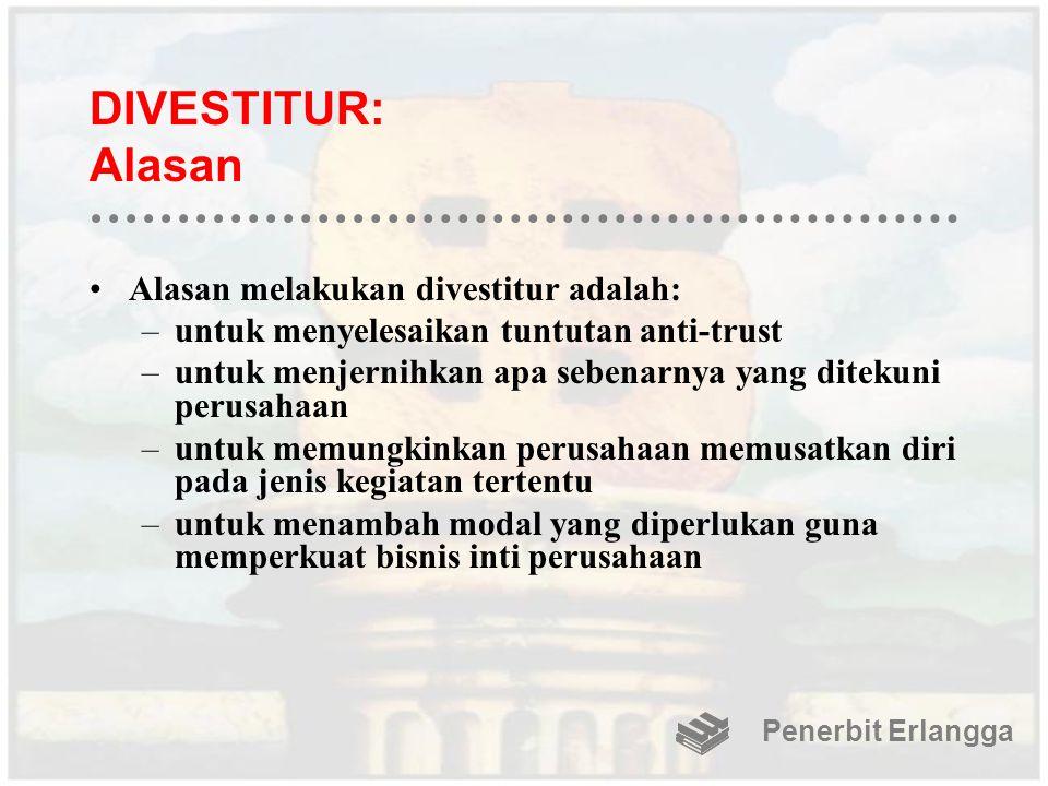 DIVESTITUR: Alasan Alasan melakukan divestitur adalah: