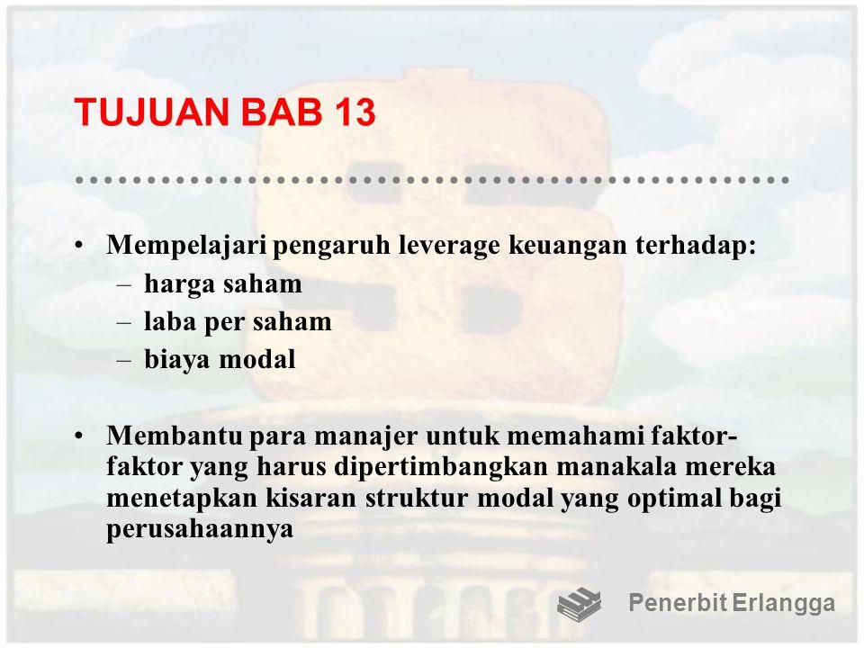 TUJUAN BAB 13 Mempelajari pengaruh leverage keuangan terhadap: