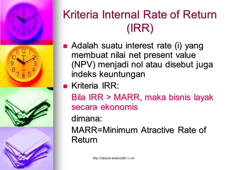 Kriteria Internal Rate of Return (IRR)