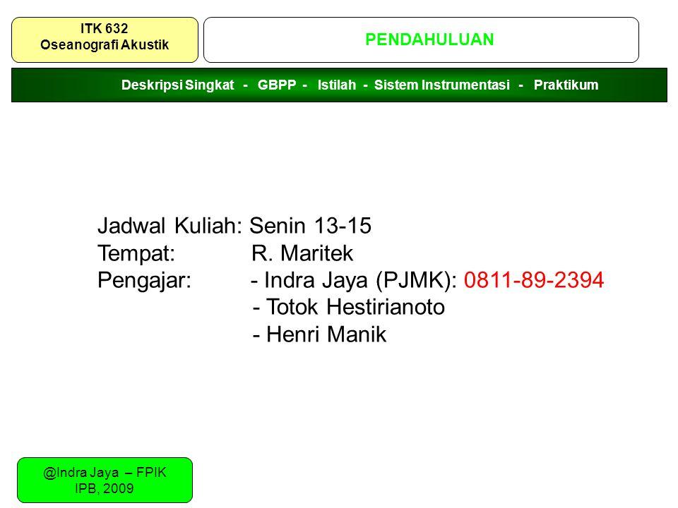 Pengajar: - Indra Jaya (PJMK): 0811-89-2394 - Totok Hestirianoto