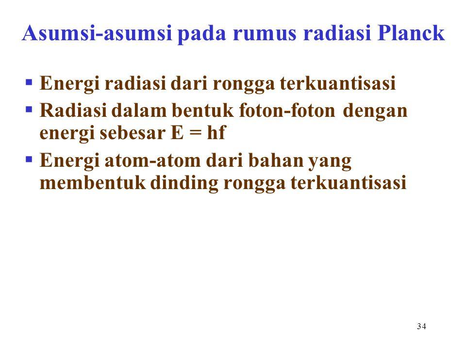 Asumsi-asumsi pada rumus radiasi Planck