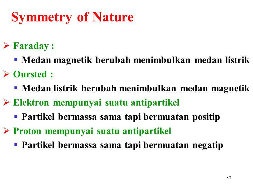 Symmetry of Nature Faraday :