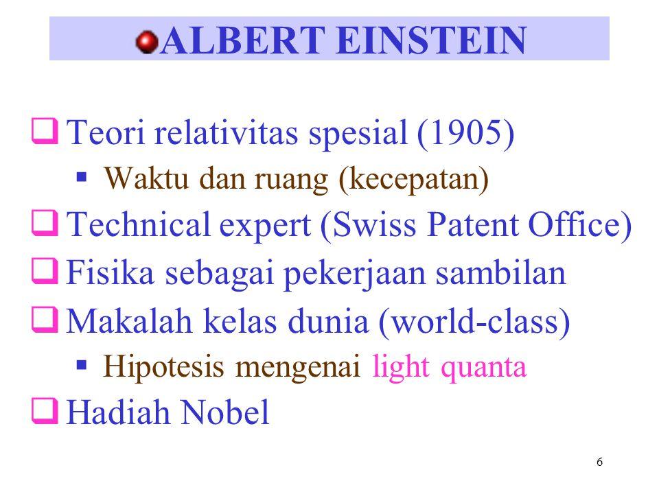 ALBERT EINSTEIN Teori relativitas spesial (1905)