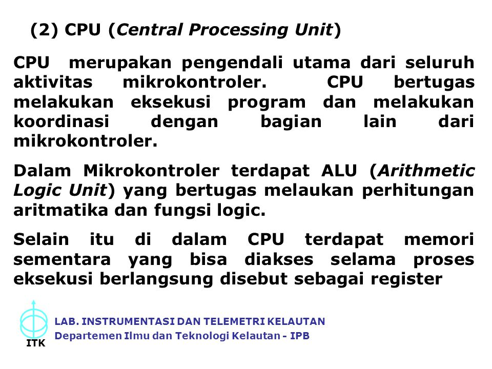 (2) CPU (Central Processing Unit)