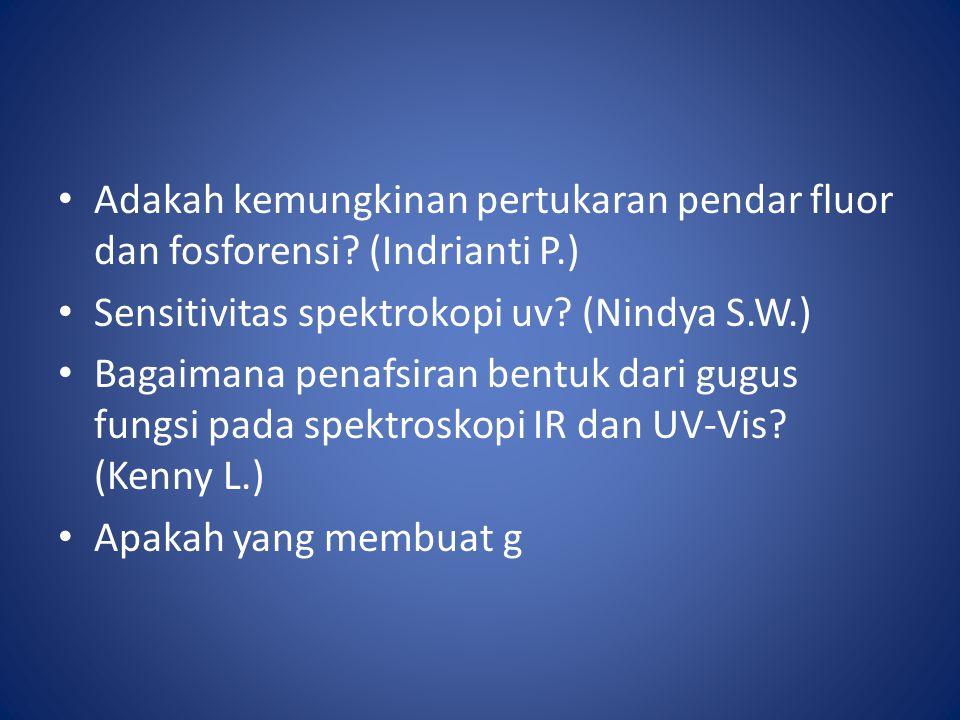 Adakah kemungkinan pertukaran pendar fluor dan fosforensi (Indrianti P.)