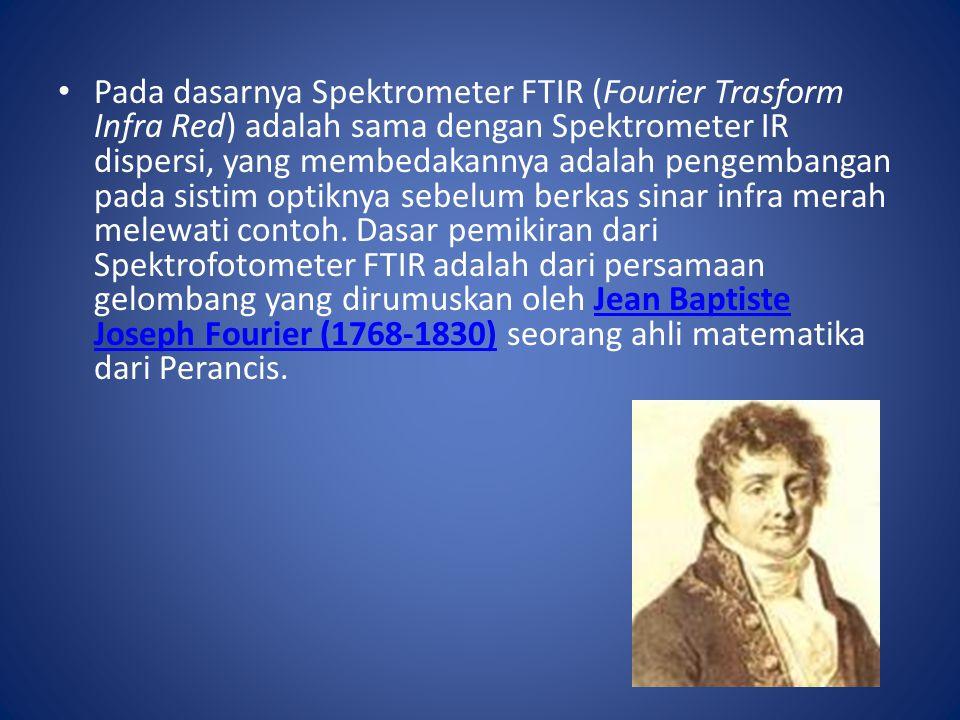 Pada dasarnya Spektrometer FTIR (Fourier Trasform Infra Red) adalah sama dengan Spektrometer IR dispersi, yang membedakannya adalah pengembangan pada sistim optiknya sebelum berkas sinar infra merah melewati contoh. Dasar pemikiran dari Spektrofotometer FTIR adalah dari persamaan gelombang yang dirumuskan oleh Jean Baptiste Joseph Fourier (1768-1830) seorang ahli matematika dari Perancis.
