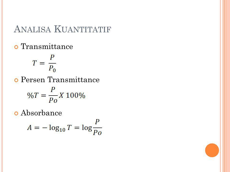 Analisa Kuantitatif Transmittance Persen Transmittance Absorbance