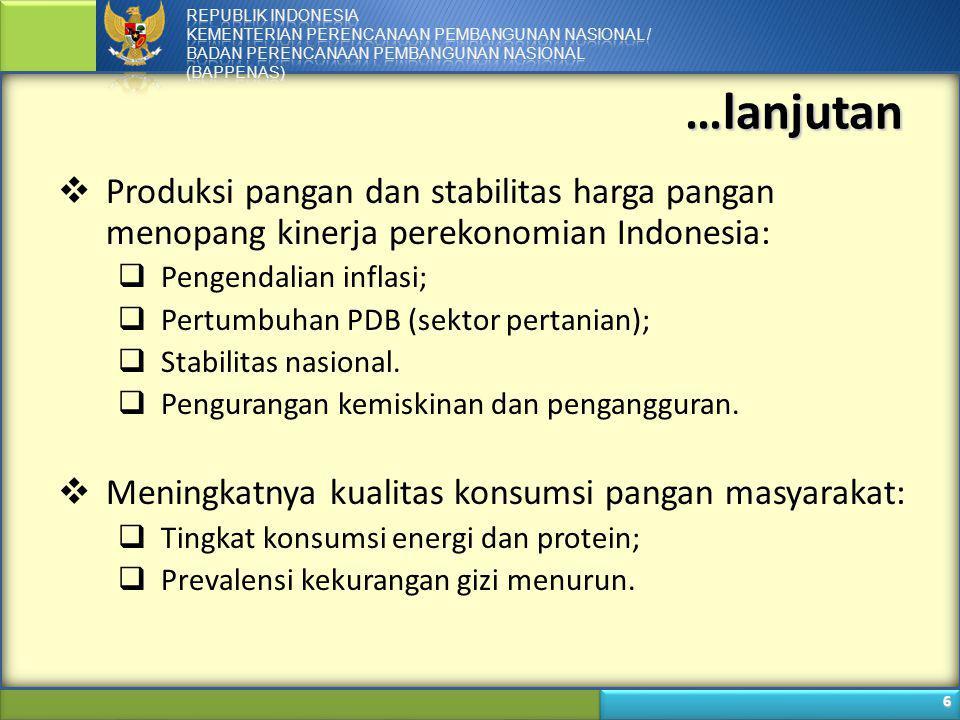 …lanjutan Produksi pangan dan stabilitas harga pangan menopang kinerja perekonomian Indonesia: Pengendalian inflasi;