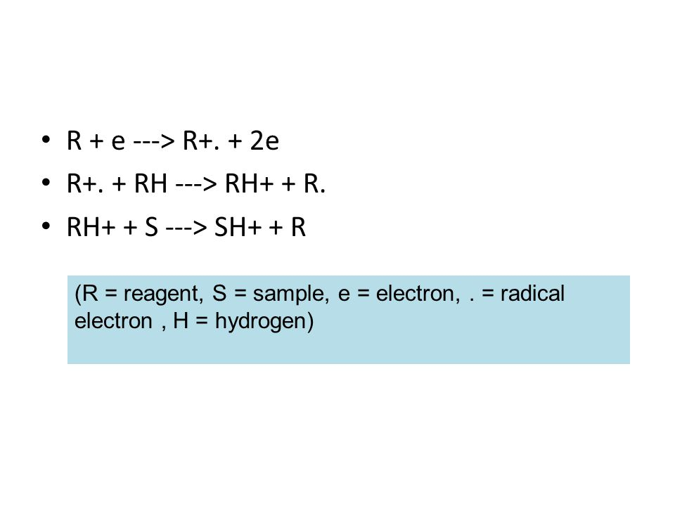 R + e ---> R+. + 2e R+. + RH ---> RH+ + R.