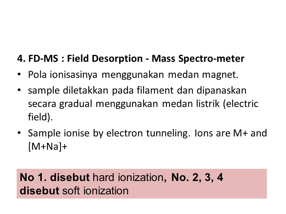 4. FD-MS : Field Desorption - Mass Spectro-meter
