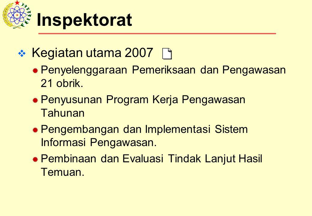 Inspektorat Kegiatan utama 2007