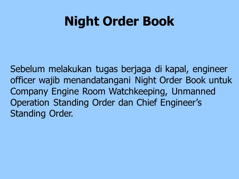 Night Order Book