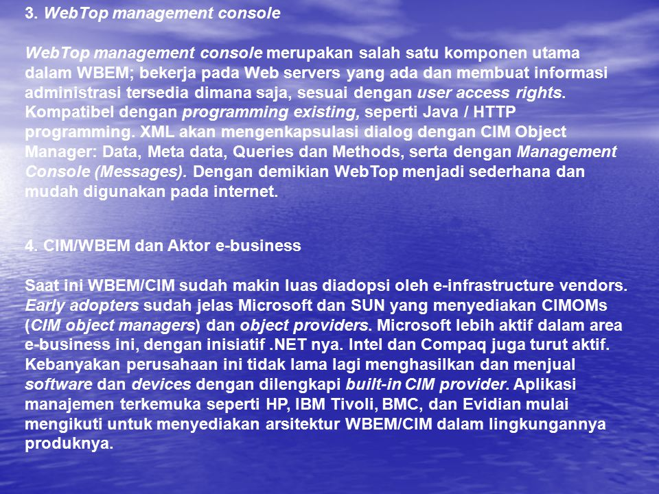 3. WebTop management console