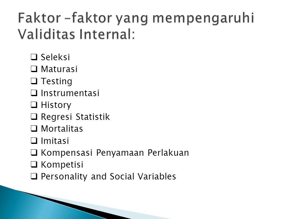 Faktor –faktor yang mempengaruhi Validitas Internal: