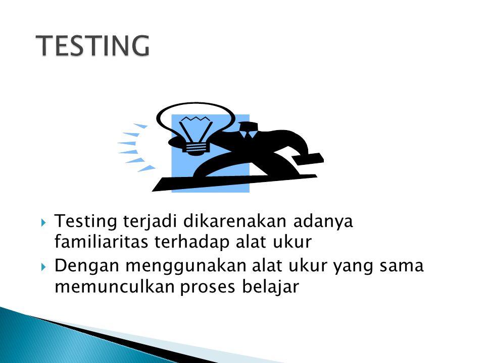 TESTING Testing terjadi dikarenakan adanya familiaritas terhadap alat ukur.