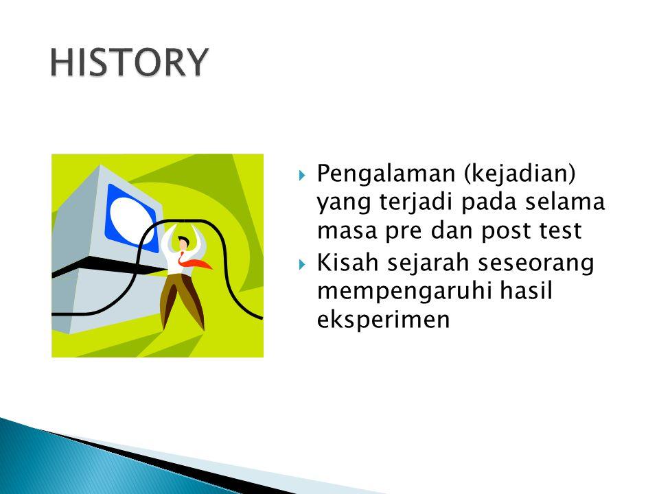 HISTORY Pengalaman (kejadian) yang terjadi pada selama masa pre dan post test.