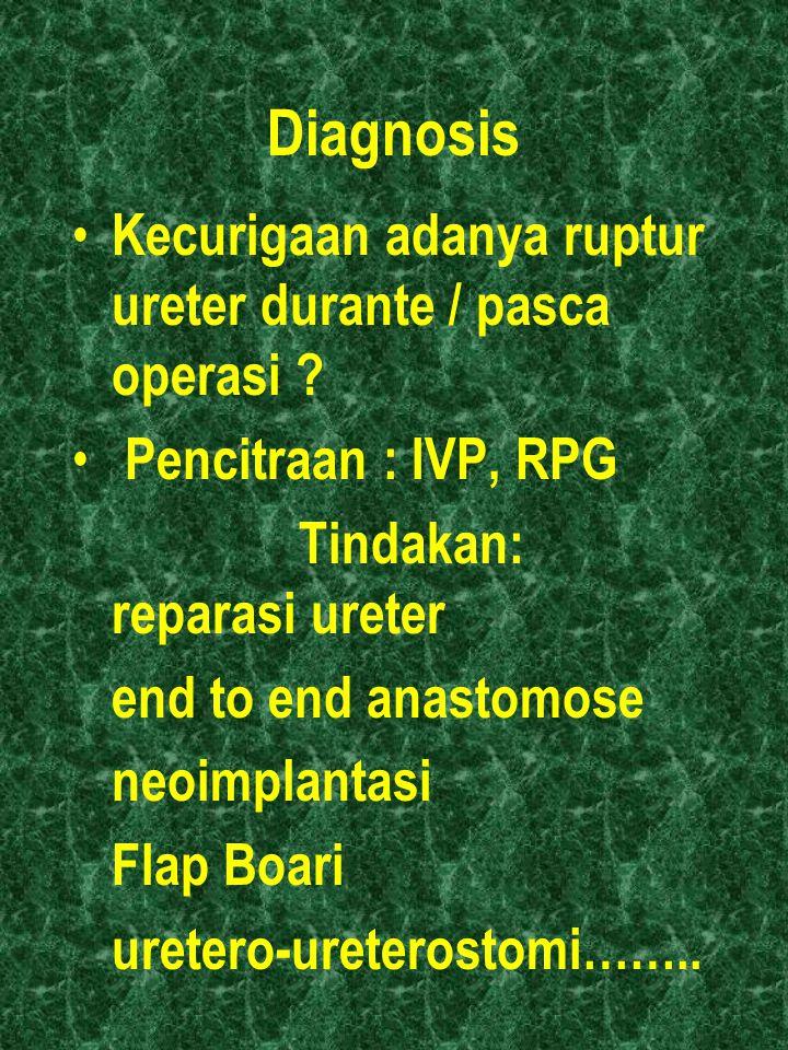 Diagnosis Kecurigaan adanya ruptur ureter durante / pasca operasi