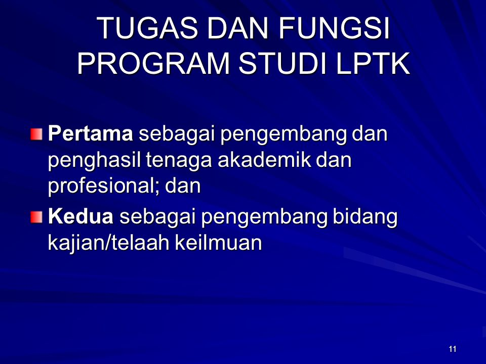 TUGAS DAN FUNGSI PROGRAM STUDI LPTK