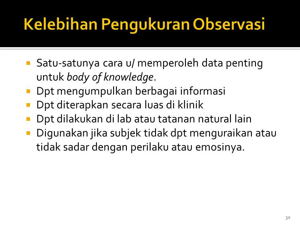 Kelebihan Pengukuran Observasi