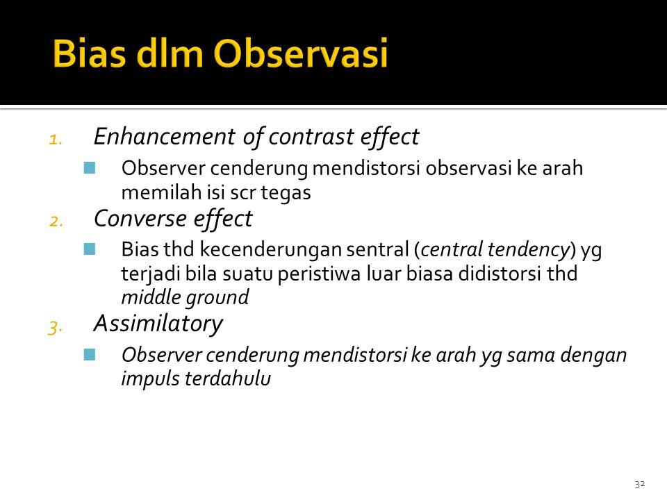 Bias dlm Observasi Enhancement of contrast effect Converse effect